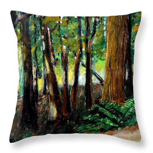 Livingston Trail Throw Pillow featuring the drawing Woodland Trail by Michelle Calkins