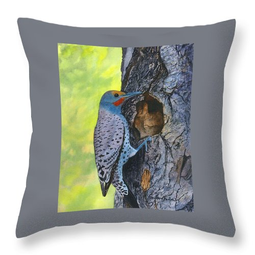 Woodpecker Throw Pillow featuring the painting Woodpecker by Sharon Farber