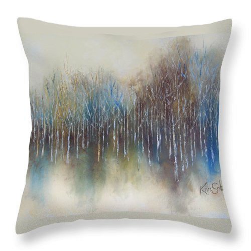 Woods Throw Pillow featuring the painting Woods Edge by Kim Sobat