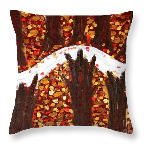 Woods Throw Pillow featuring the painting Woods In Autumn by Patrick J Murphy