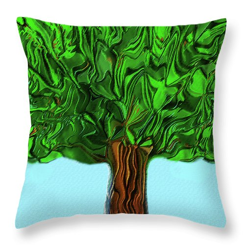 Modern Throw Pillow featuring the digital art Woody by ME Kozdron