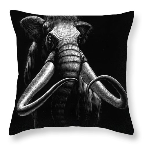 Wildlife Throw Pillow featuring the drawing Woolly Mammoth by Stanley Morrison