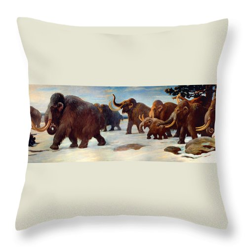 Painting Throw Pillow featuring the painting Wooly Mammoths Near The Somme River by Mountain Dreams