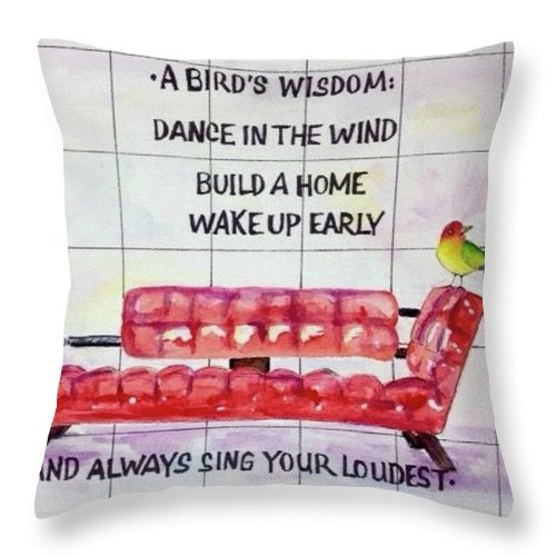 Chair Throw Pillow featuring the painting A Birds Wisdom by Bonny Butler