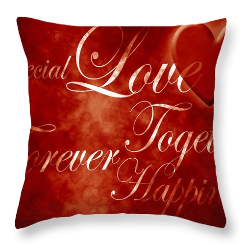 Love Throw Pillow featuring the digital art Words Of Love by Phill Petrovic