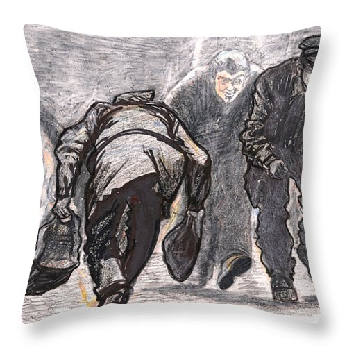 Work Throw Pillow featuring the drawing Work A Day Way by Al Goldfarb