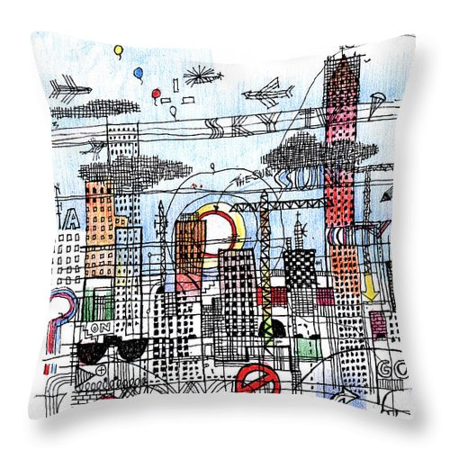 City Throw Pillow featuring the digital art Work In Progress 2 by Andy Mercer