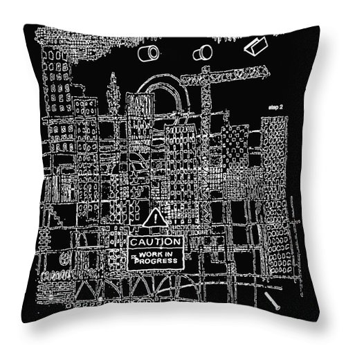 City Throw Pillow featuring the digital art Work In Progress by Andy Mercer
