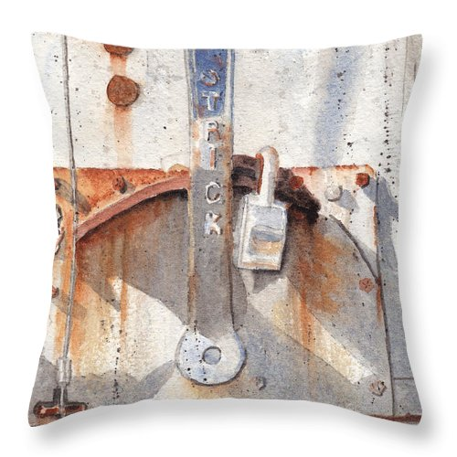 Semi Throw Pillow featuring the painting Work Trailer Lock Number One by Ken Powers