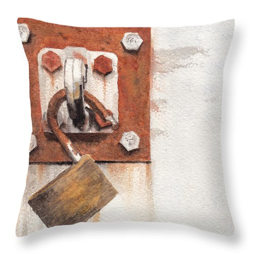 Rust Throw Pillow featuring the painting Work Trailer Lock Number Two by Ken Powers