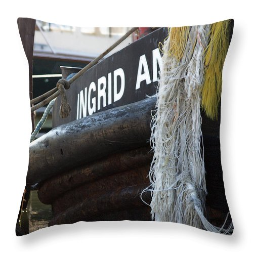 Tugboat Throw Pillow featuring the photograph Workhorse Of The Sea by Mary Haber