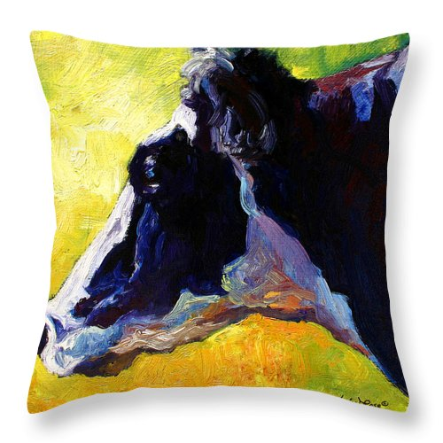Western Throw Pillow featuring the painting Working Girl - Holstein Cow by Marion Rose
