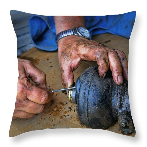 Hand Throw Pillow featuring the photograph Working Hands by Cricket Hackmann