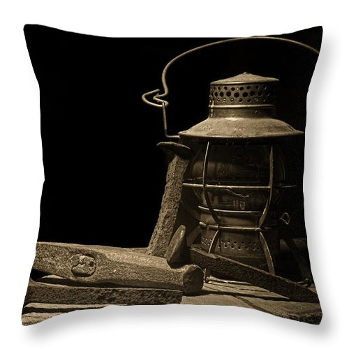 Railroad Throw Pillow featuring the photograph Working On The Railroad Still Life by Tom Mc Nemar