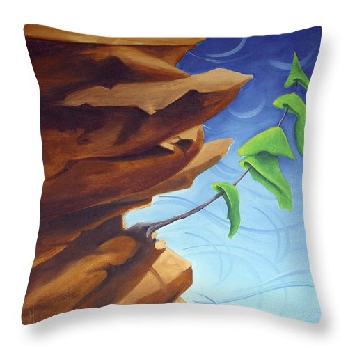 Landscape Throw Pillow featuring the painting Working Your Way Up by Richard Hoedl