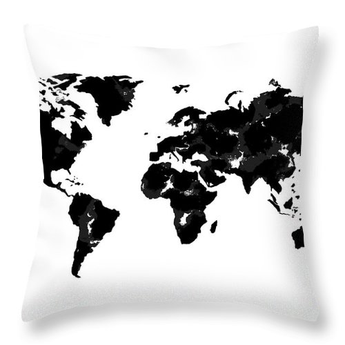 Watercolor Throw Pillow featuring the painting World Map In Black And White by Tori Rodriguez