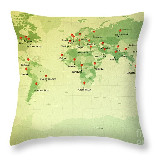 Cartography Throw Pillow featuring the digital art World Map Miller Cities Straight Pin Vintage by Frank Ramspott