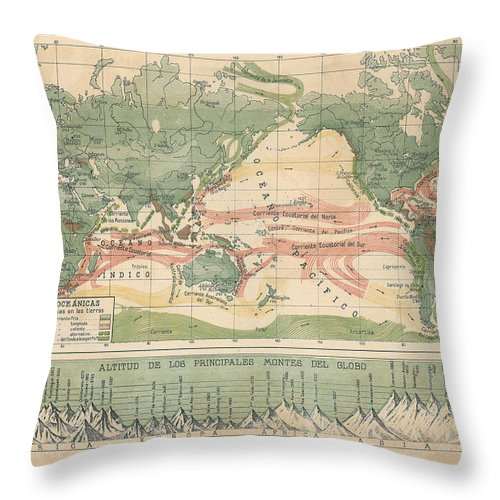 World Map With Currents.World Map Ocean Currents Throw Pillow For Sale By Carambas Vintage