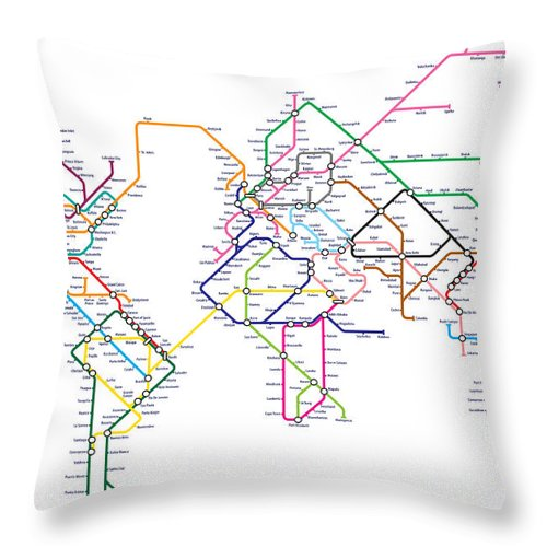 World Metro Tube Subway Map Throw Pillow For Sale By Michael Tompsett