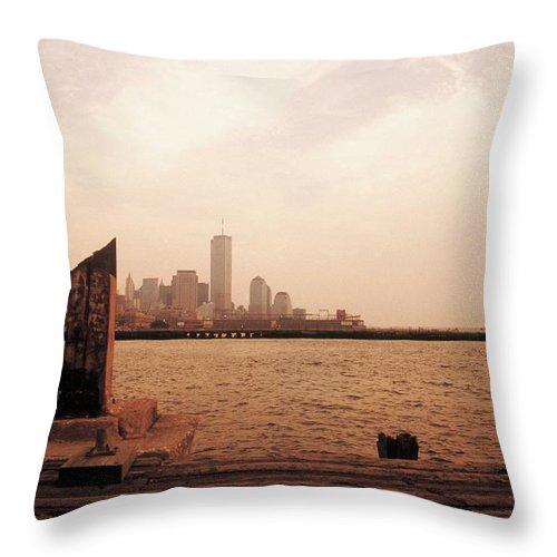 World Trade Center Throw Pillow featuring the photograph world Trade Center From Pier by Rachel Dunn