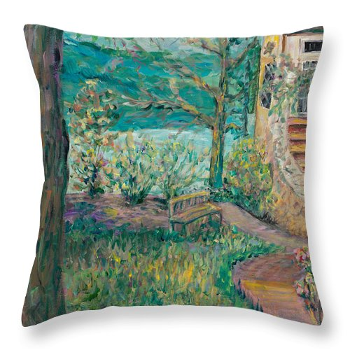 Big Cedar Lodge Throw Pillow featuring the painting Worman House At Big Cedar Lodge by Nadine Rippelmeyer