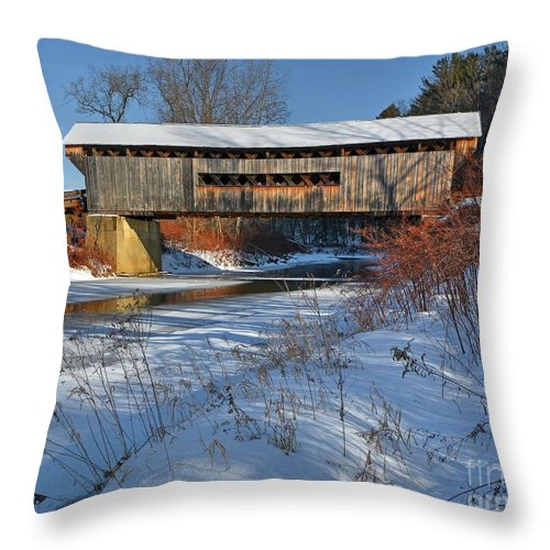Vermont Throw Pillow featuring the photograph Worrall Covered Bridge by Steve Brown