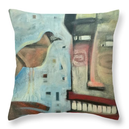 Man Throw Pillow featuring the painting Worth Two... by Tim Nyberg
