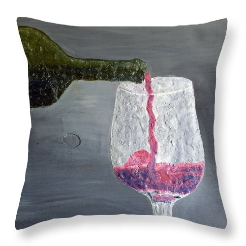 Still Life Paintings Throw Pillow featuring the painting Would You Like A Glass Or Would You Mine If I by Leslye Miller