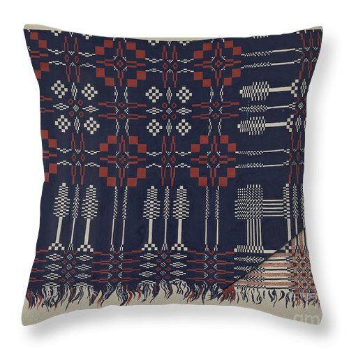 Throw Pillow featuring the drawing Woven Coverlet by Ralph Atkinson