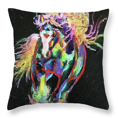 Gypsy Cob Throw Pillow featuring the painting Wraggle Taggle Gypsy Cob by Louise Green