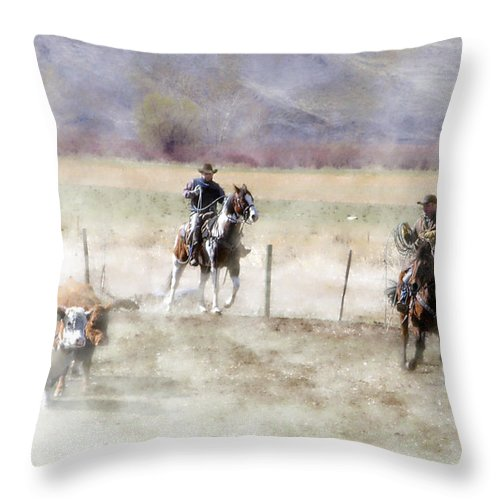 Cowboy Throw Pillow featuring the photograph Wrangling # 24 by Ed Hall