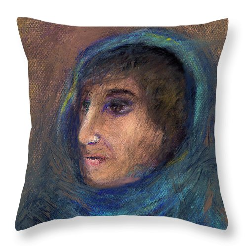 Woman Throw Pillow featuring the pastel Wrapped In A Shawl by Arline Wagner