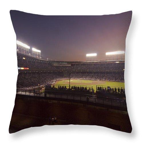 Cubs Throw Pillow featuring the photograph Wrigley Field At Dusk 2 by Sven Brogren