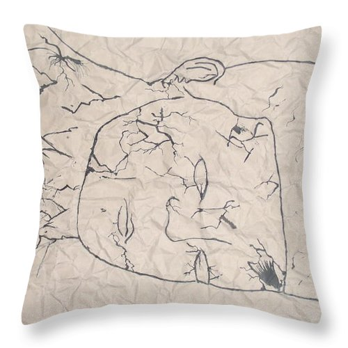 Throw Pillow featuring the mixed media Wrinkled Masterpiece by Emmanuel Jaiyeola