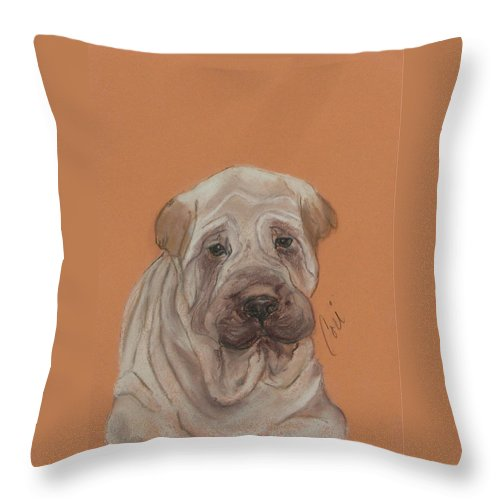 Shar Pei Throw Pillow featuring the drawing Wrinkles by Cori Solomon