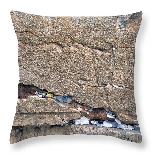 Israel Throw Pillow featuring the photograph Written Prayers Western Wall by Thomas R Fletcher