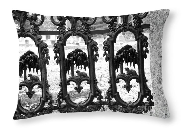 Gate Throw Pillow featuring the photograph Wrought Iron Gate -west Epping Nh Usa by Erin Paul Donovan