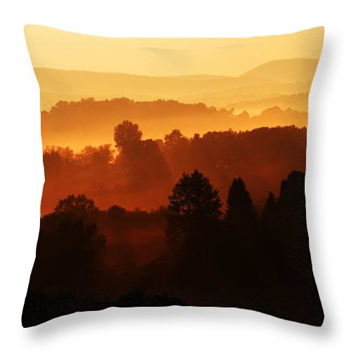 Sunrise Throw Pillow featuring the photograph Wv Misty Mountain Sunrise Mirror Image by Thomas R Fletcher