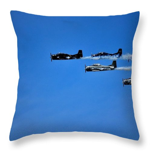 World War 2 Fighters Throw Pillow featuring the photograph World War 2 Fighters by Charles J Pfohl