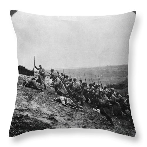 Army Throw Pillow featuring the photograph Wwi: French Attack by Granger