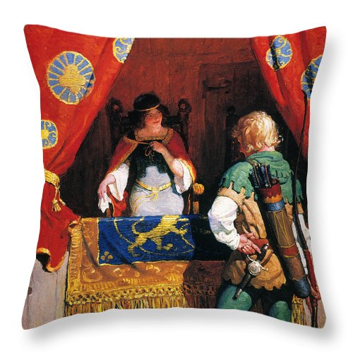 Throw Pillow featuring the painting Wyeth: Robin Hood & Marian by Granger