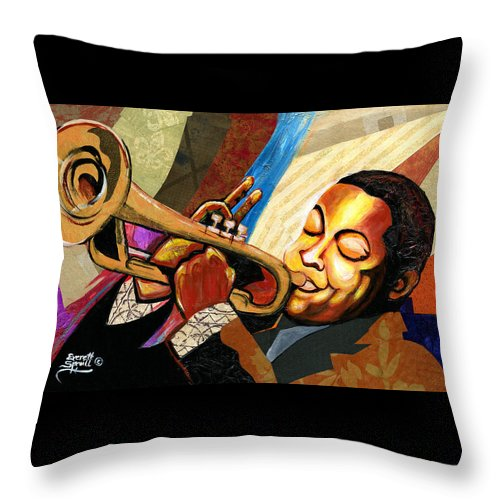 Everett Spruill Throw Pillow featuring the painting Wynton Marsalis by Everett Spruill
