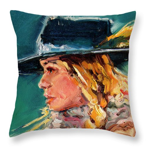Cowgirl Throw Pillow featuring the painting Wyoming Cowgirl Close by Diane Whitehead