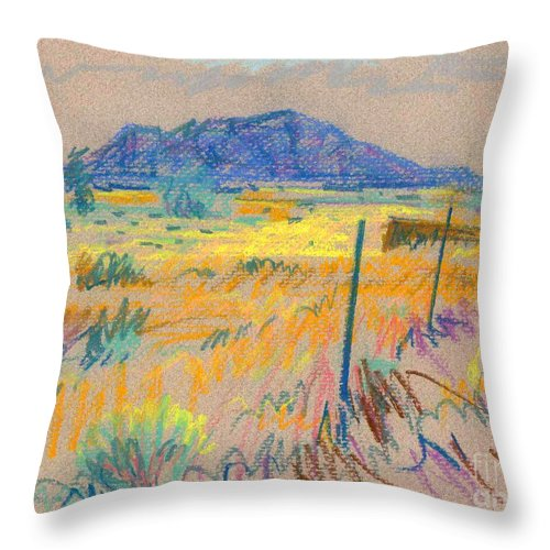 Pastel Throw Pillow featuring the painting Wyoming Roadside by Donald Maier