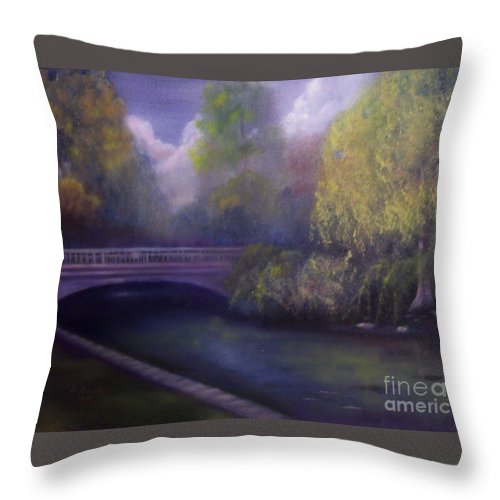 Bridge Throw Pillow featuring the painting Wyomissing Creek Misty Morning by Marlene Book