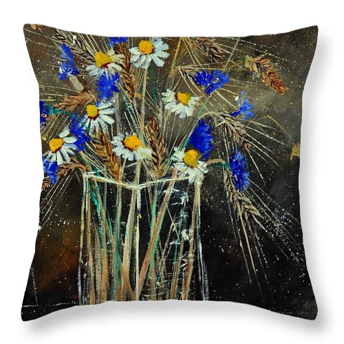 Flowers Throw Pillow featuring the painting Xav's Bunch by Pol Ledent