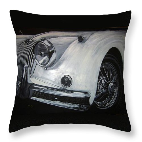 Car Throw Pillow featuring the painting Xk150 Jaguar by Richard Le Page