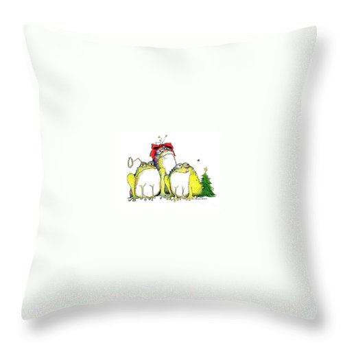Christmas Card Throw Pillow featuring the greeting card Xmas Bows by Pat Saunders-White