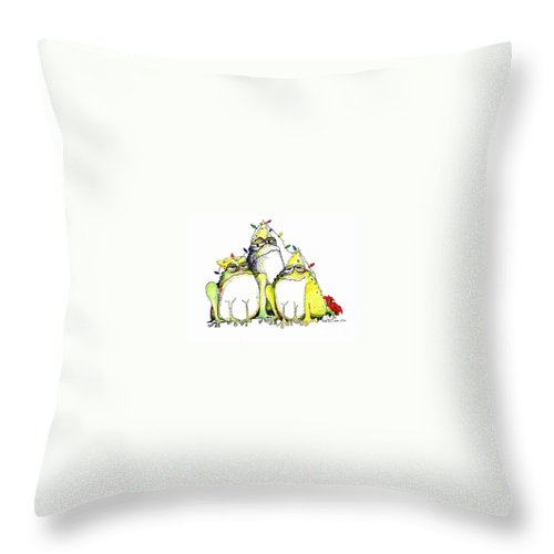 Christmas Card Throw Pillow featuring the greeting card Xmas Lights by Pat Saunders-White