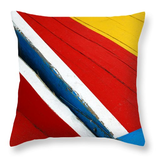 Red Throw Pillow featuring the photograph Xochimilco Boat Abstract 1 by Skip Hunt